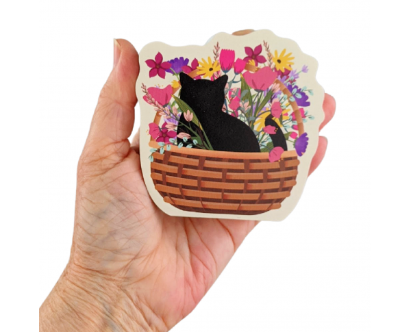 """Casper Blooms & Purrs Basket. Handcrafted in the USA 3/4"""" thick wood by Cat's Meow Village."""