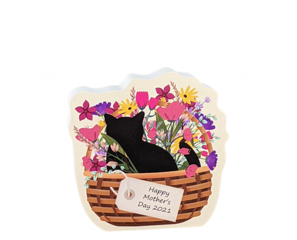 """Limited time 2021 Mother's Day edition of our Casper Blooms & Purrs Basket. Handcrafted in 3/4"""" thick wood by The Cat's Meow Village."""