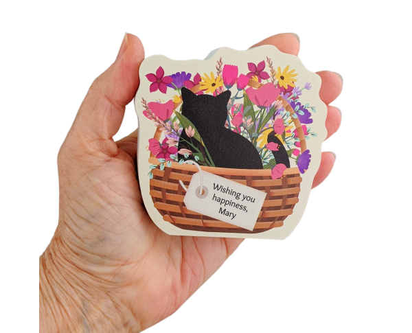 "Casper Blooms & Purrs Basket, PURRsonalize Me! handcrafted in 3/4"" thick wood by The Cat's Meow Village in Wooster, Ohio."