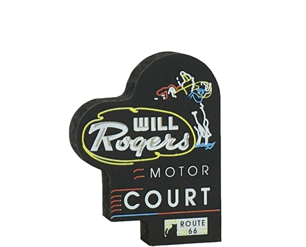 "Miniature handcrafted replica of the Will Rogers Motor Court neon sign for your home decor. Handcrafted in 3/4"" thick wood in our Wooster, Ohio workshop. The Cat's Meow Village."