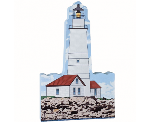 Wooden shelf sitter décor of the Boston Light handcrafted in the U.S. by The Cat's Meow Village.