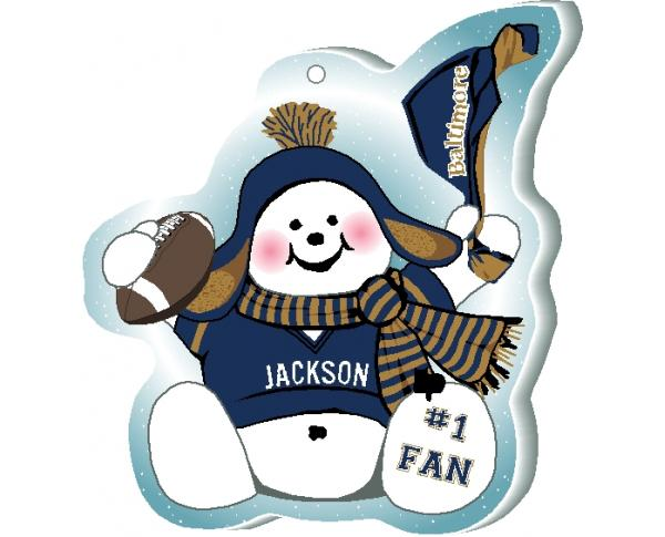 "Cheer on your Baltimore team with this charming snowman ornament waving his Go Team pennant, handcrafted in 1/4"" thick wood by The Cat's Meow Village. Made in Wooster, Ohio!"