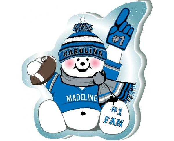 Show off your team spirit with this Carolina football snowman ornament! Add your name as the #1 Fan. Handcrafted by The Cat's Meow Village, in Wooster Ohio!