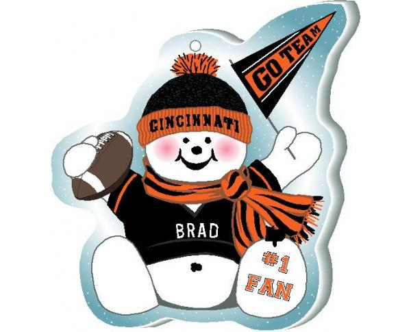 "Proudly support your Cincinnati team with this snowman ornament waving his Go Team pennant, handcrafted in 1/4"" thick wood by The Cat's Meow Village. Made in the USA!"