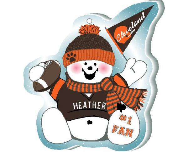 Show off your team spirit with this Cleveland football snowman ornament! Add your name as the #1 Fan. Handcrafted by The Cat's Meow Village, in Wooster Ohio!