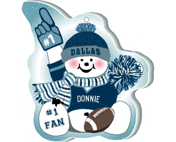 "This Dallas snowman ornament is handcrafted in the USA! Made of 1/4"" thick wood and waving his #1 cheering mitt, add your name as the #1 fan."