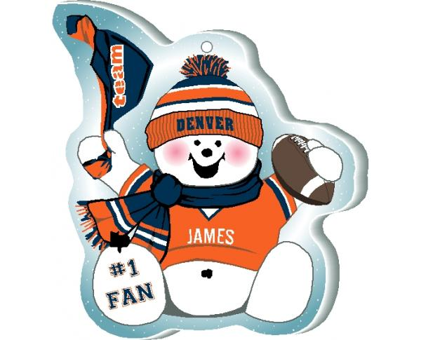 "Cheer on your Denver team with this charming snowman ornament, and add your name as the #1 fan! Handcrafted in 1/4"" thick wood by The Cat's Meow Village in Wooster Ohio!"