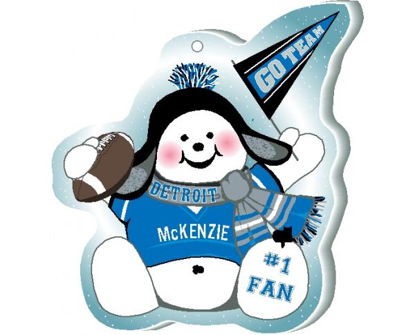 "Cheer on your Detroit team with this charming snowman ornament, and add your name as the #1 fan! Handcrafted in 1/4"" thick wood by The Cat's Meow Village in Wooster Ohio!"