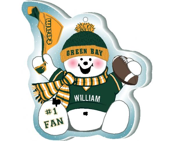 "Cheer on your Green Bay team with this charming snowman ornament, and add your name as the #1 fan! Handcrafted in 1/4"" thick wood by The Cat's Meow Village. Made in the USA!"