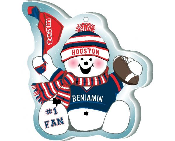 Proudly support your Houston team with this snowman ornament! Add your name as the #1 fan. Handcrafted by The Cat's Meow Village in Ohio!
