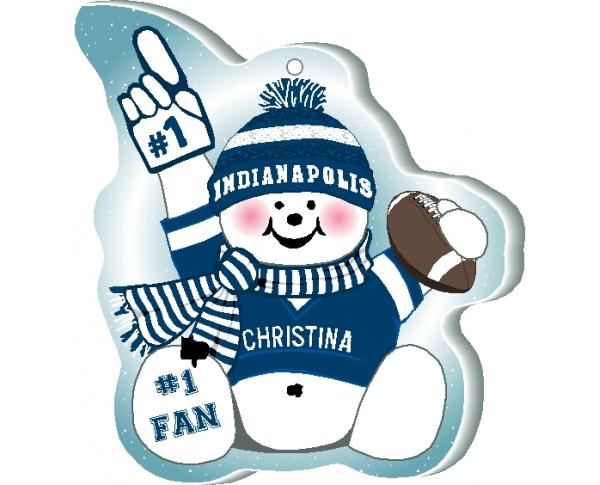 "This Indianapolis snowman ornament is handcrafted in the USA! Made of 1/4"" thick wood and waving his #1 cheering mitt, add your name as the #1 fan."