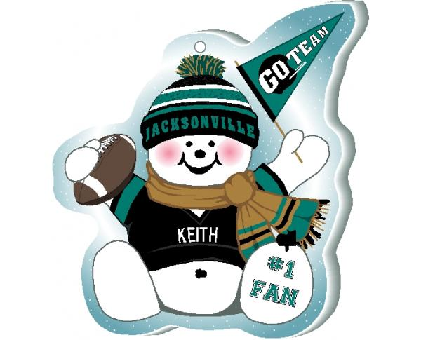 "Proudly support your Jacksonville team with this snowman ornament waving his Go Team pennant, handcrafted in 1/4"" thick wood by The Cat's Meow Village. Made in the USA!"