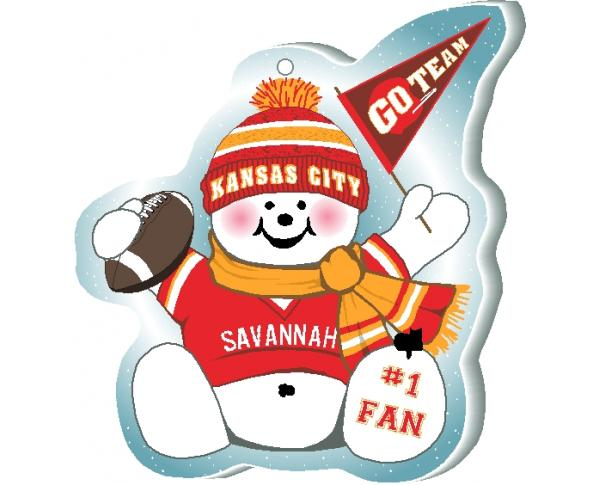 "Support your Kansas City team with this snowman ornament waving his Go Team pennant, handcrafted in 1/4"" thick wood by The Cat's Meow Village. Made in the USA!"