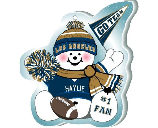 "Cheer on your Los Angeles team with this charming snowman ornament, and add your name as the #1 fan! Handcrafted in 1/4"" thick wood by The Cat's Meow Village. Made in the USA!"