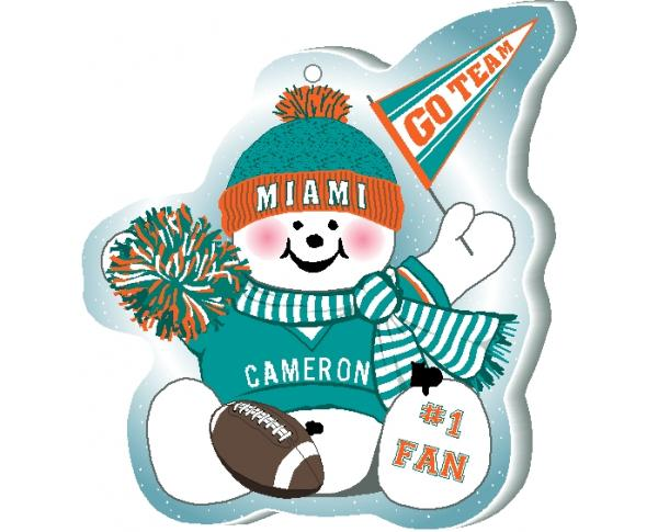 "Support your Miami team with this snowman ornament waving his Go Team pennant, handcrafted in 1/4"" thick wood by The Cat's Meow Village. Made in the USA!"