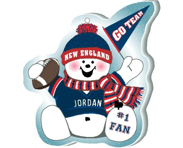 "Cheer on your New England team with this charming snowman ornament, and add your name as the #1 fan! Handcrafted in 1/4"" thick wood by The Cat's Meow Village. Made in the USA!"