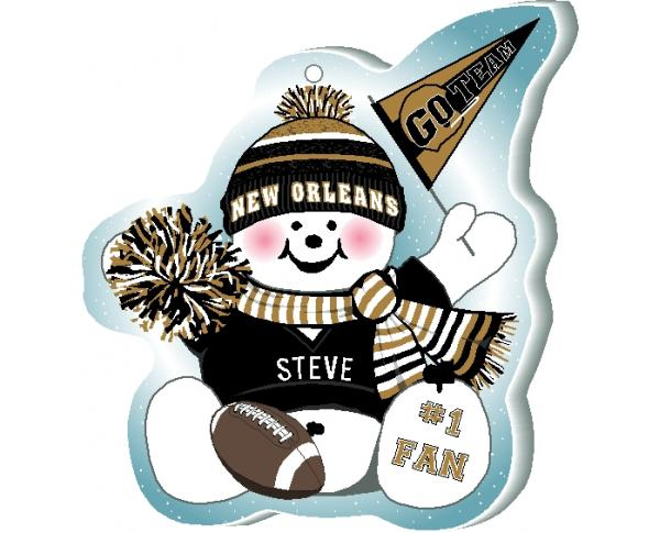 "Cheer on your New Orleans team with this charming snowman ornament waving his Go Team pennant, handcrafted in 1/4"" thick wood by The Cat's Meow Village. Made in Wooster, Ohio!"
