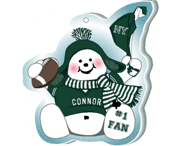 "This New York, Green  snowman ornament is handcrafted in the USA! Made of 1/4"" thick wood and waving his #1 cheering mitt, add your name as the #1 fan."