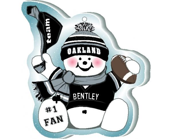 "Cheer on your Oakland team with this charming snowman ornament, and add your name as the #1 fan! Handcrafted in 1/4"" thick wood by The Cat's Meow Village. Made in the USA!"