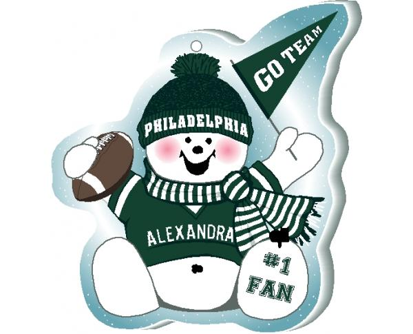Show off your team spirit with this Philadelphia football snowman ornament! Add your name as the #1 Fan. Handcrafted by The Cat's Meow Village, in Wooster Ohio!
