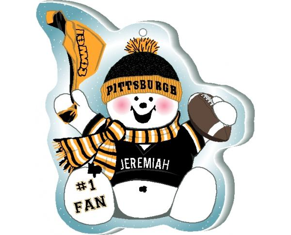 Show off your team spirit with this Pittsburgh football snowman ornament! Add your name as the #1 Fan. Handcrafted by The Cat's Meow Village, in Wooster Ohio!