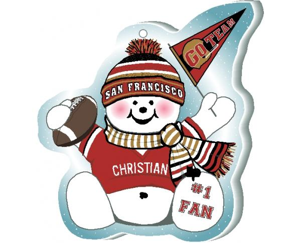 "Cheer on your San Francisco team with this charming snowman ornament, and add your name as the #1 fan! Handcrafted in 1/4"" thick wood by The Cat's Meow Village. Made in the USA!"