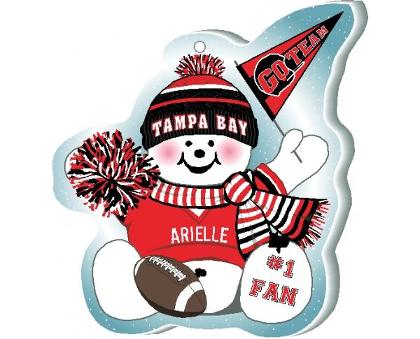 "Cheer on your Tampa Bay team with this charming snowman ornament, and add your name as the #1 fan! Handcrafted in 1/4"" thick wood by The Cat's Meow Village. Made in the USA!"