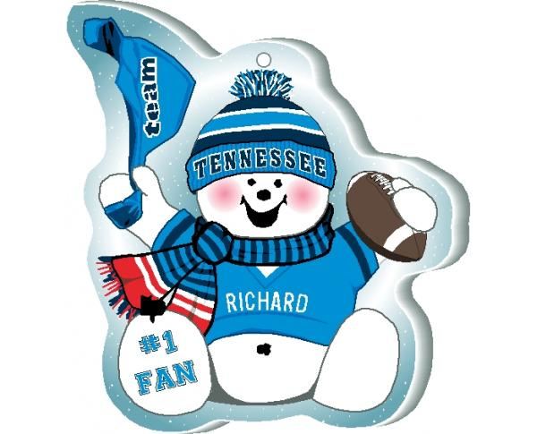Proudly support your Tennessee team with this snowman ornament! Add your name as the #1 fan. Handcrafted by The Cat's Meow Village in Ohio!