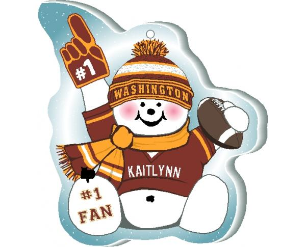 "This Washington snowman ornament is handcrafted in the USA! Made of 1/4"" thick wood and waving his #1 cheering mitt, add your name as the #1 fan."