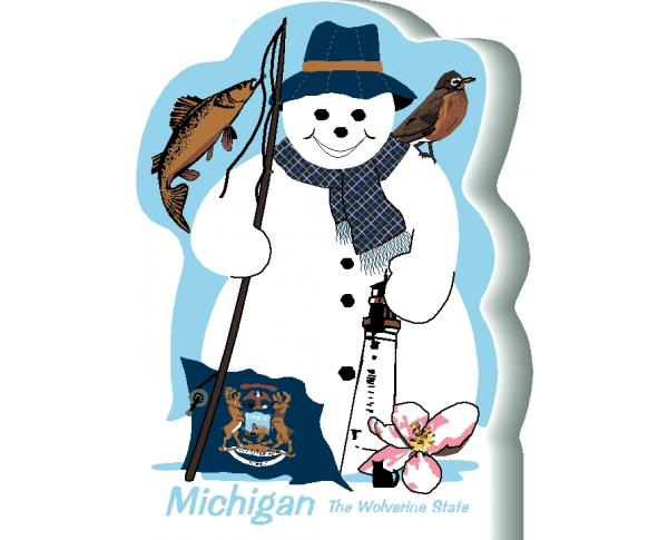 Michigan State Snowman handcrafted and made in the USA.