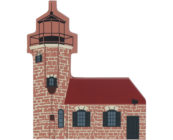 "Vintage Sand Island Lighthouse from Waterfront Series handcrafted from 3/4"" thick wood by The Cat's Meow Village in the USA"