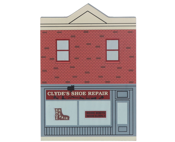 "Vintage Clyde's Shoe Repair from Elm Street Series handcrafted from 3/4"" thick wood by The Cat's Meow Village in the USA"