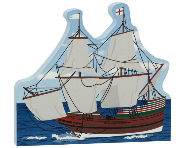 "Plimoth Plantation Mayflower II handcrafted in 3/4"" thick wood by The Cat's Meow Village"