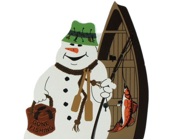 Gone Fishing Snowman, fishing pole, bait
