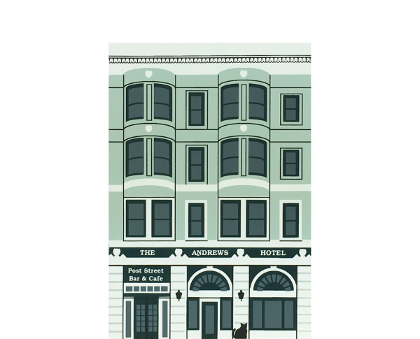 "Vintage Andrews Hotel from Painted Ladies Series handcrafted from 3/4"" thick wood by The Cat's Meow Village in the USA"