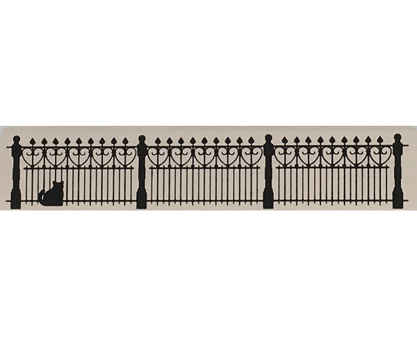 """Vintage Wrought Iron Fence from Accessories handcrafted from 1/2"""" thick wood by The Cat's Meow Village in the USA"""