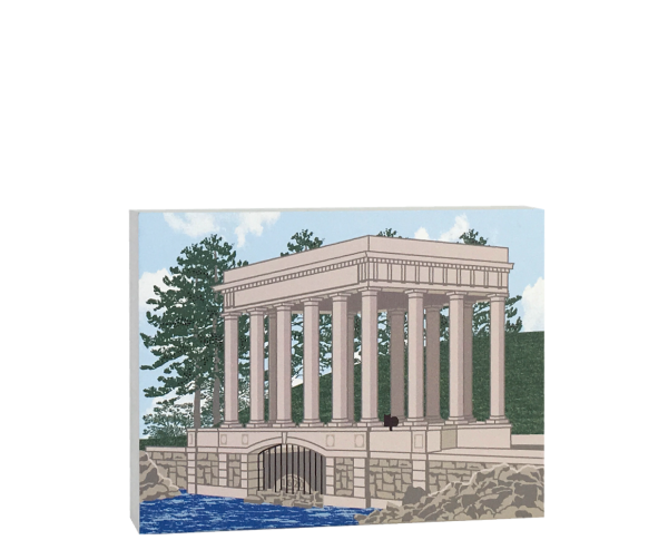 """Plymouth Rock Portico in Plymouth, MA commemorating the landing of the Pilgrims in 1620. Handcrafted of 3/4"""" thick wood by The Cat's Meow Village in  the USA."""