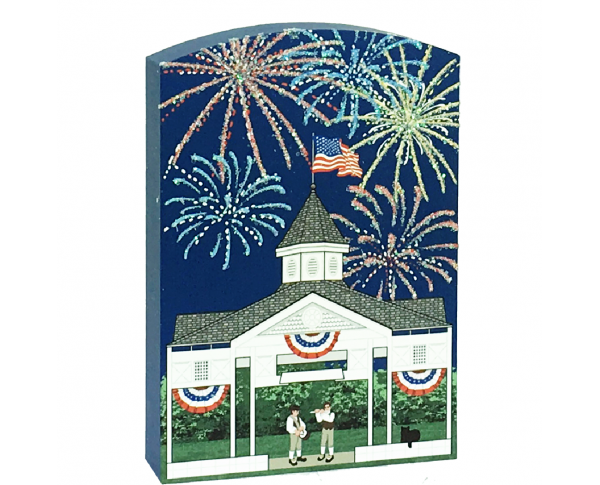 Glittery fireworks fill the night sky as a fife and drum play under this gazebo. Handcrafted in the USA by The Cat's Meow Village