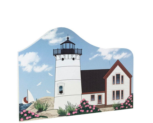 "Replica of  Stage Harbor Lighthouse in Chatham, Massachusetts. Handcrafted of 3/4"" thick wood by The Cat's Meow Village in the USA."