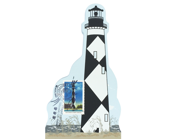 "Cape Lookout Lighthouse w/ USPS Lighthouse Stamp from Southeastern Lighthouse Series handcrafted from 3/4"" thick wood by The Cat's Meow Village in the USA"