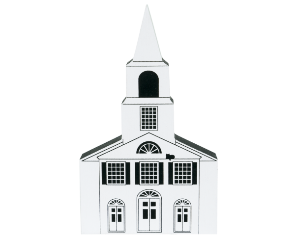 "Vintage Chepachet Union Church from Series IV handcrafted from 3/4"" thick wood by The Cat's Meow Village in the USA"