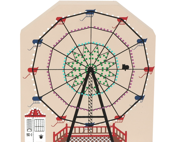 "Vintage Ferris Wheel from Circus Series handcrafted from 3/4"" thick wood by The Cat's Meow Village in the USA"
