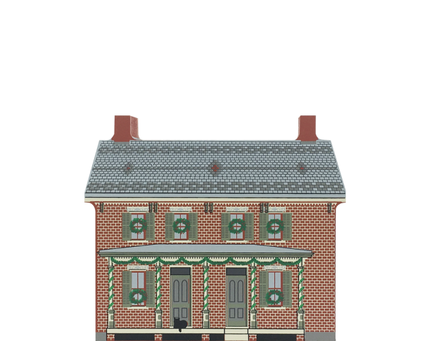 "Vintage Firestone Farmhouse from Greenfield Village Christmas Series handcrafted from 3/4"" thick wood by The Cat's Meow Village in the USA"