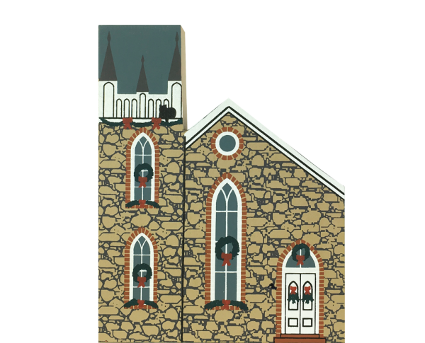 "Vintage First Presbyterian Church from Rocky Mountain Christmas Series handcrafted from 3/4"" thick wood by The Cat's Meow Village in the USA"