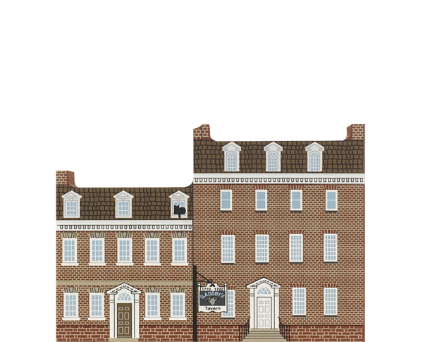 "Vintage Gadsby's Tavern from Mid-Atlantic Tavern Series handcrafted from 3/4"" thick wood by The Cat's Meow Village in the USA"