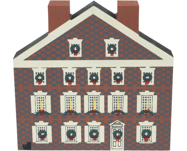 "Vintage Graff House from Philadelphia Christmas Series handcrafted from 3/4"" thick wood by The Cat's Meow Village in the USA"