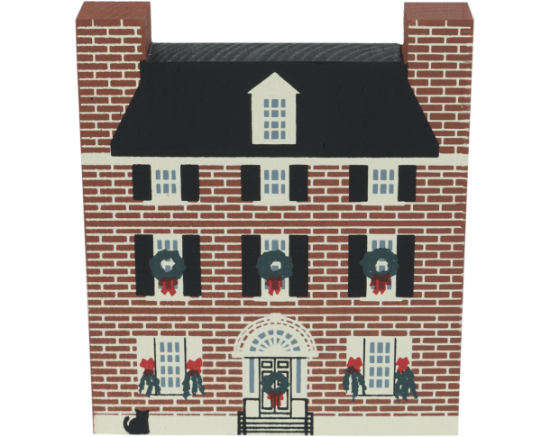 "Vintage Hill-Physick-Keith House, from Philadelphia Christmas Series handcrafted from 3/4"" thick wood by The Cat's Meow Village in the USA"