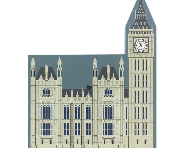 "Vintage Houses of Parliament Including Big Ben from English Traveler Series handcrafted from 3/4"" thick wood by The Cat's Meow Village in the USA"