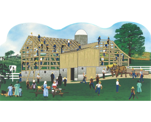 Cat's Meow Amish Barn Raising Scene, Amish Life Collection
