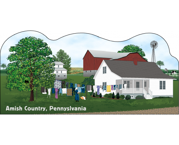 Cat's Meow Amish Wash Day Scene Pennsylvania, Amish Life Collection